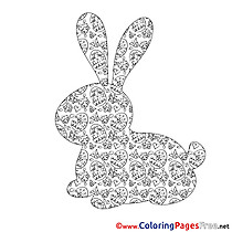 Silhouette Bunny  Colouring Sheet download Easter