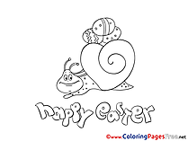 Snail with Eggs printable Easter Coloring Sheets