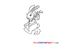 Traveler Bunny Children Easter Colouring Page