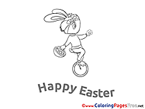 Unicycle Rabbit Coloring Pages Easter