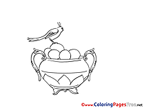 Vase Bird Easter Coloring Pages free