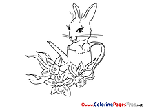 Watering Can Hare Easter Colouring Sheet free
