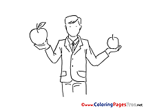 Apples Buisnessman for Kids printable Colouring Page