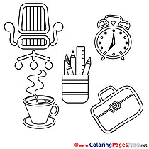 Coffee Clock Kids download Coloring Pages