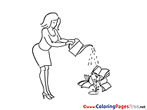 Economy Woman pours Coloring Sheets download free