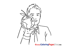Globe Man for free Coloring Pages download