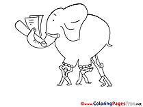 Ladder Elephant Kids free Coloring Page
