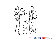 Piggy Bank Money Kids free Coloring Page