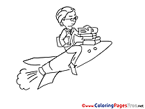 Rocket Businessman download printable Coloring Pages