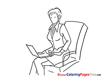 Woman works Children Coloring Pages free