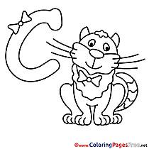 Cat Coloring Pages Alphabet