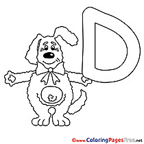Dog free Colouring Page Alphabet