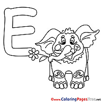 Elephant Alphabet Coloring Pages free