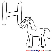 Horse download Alphabet Coloring Pages