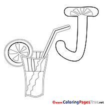 Juice Kids Alphabet Coloring Page