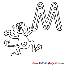 Monkey for Kids Alphabet Colouring Page