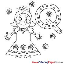 Queen Children Alphabet Colouring Page