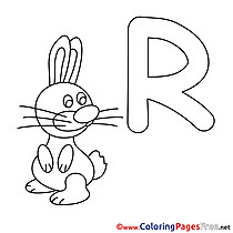 Rabbit Alphabet free Coloring Pages