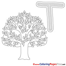Tree Coloring Pages Alphabet