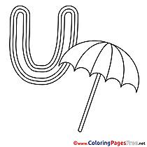 Umbrella free Colouring Page Alphabet
