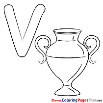 Vase Alphabet Coloring Pages free