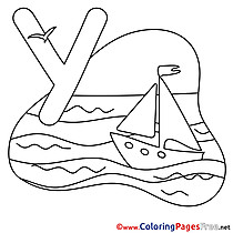 Yacht download Alphabet Coloring Pages