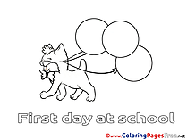 Balloons Cat Kids download Coloring Pages