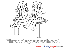 Bench printable Coloring Pages Friends for free