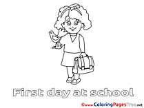 Bird Girl School printable Coloring Sheets download