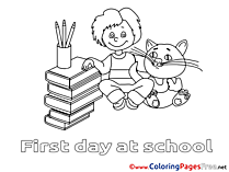 Books Boy with Cat printable Coloring Pages for free