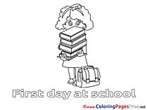 Books Girl free printable Coloring Sheets