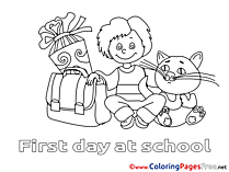 Cat Boy Children Coloring Pages Schoolbag Free