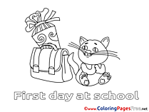 Cat free Colouring Page download Schoolbag