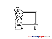 Chalkboard Teacher for Children free Coloring Pages