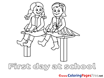 Children download Colouring Page School