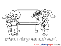 Classroom Pupils Kids free Coloring Page