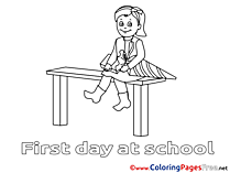Colouring Page printable free Girl School