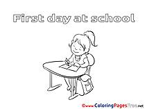 Desk Girl School Colouring Sheet download free