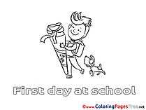 Dog with Boy Coloring Sheets download free