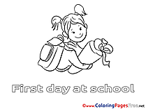 Download Girl goes to School Colouring Sheet free