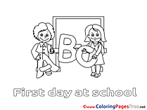 First-graders Colouring Page printable free