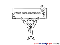 First Day at School Coloring Pages for free