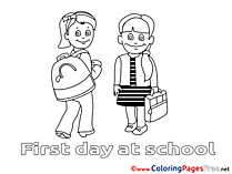 First Day at School Colouring Page printable free