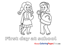 First Day at School for free Coloring Pages download