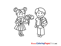 Flowers Kids free Colouring Page download