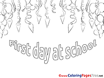 For Kids First Day printable Colouring Page