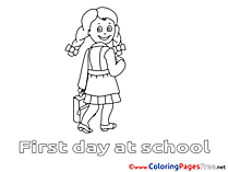 For Kids printable Colouring Page School Girl
