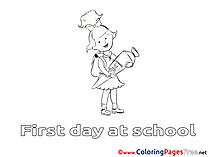 Girl printable Coloring Pages School for free