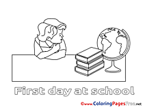 Globe Colouring Sheet download School free