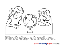 Globe download printable Geography Coloring Pages